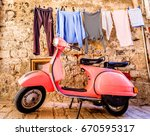 ROVINJ, CROATIA - MAY 9: typical Vespa small motorbike at the old street on may 9, 2017 in Rovinj, Croatia - stock photo