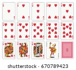 Playing cards, heart suit, joker and back - stock vector