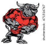 Mascot Bull strutting, proud and tough, which gives tribute to traditional school mascots but with a new look and attitude. Suitable for all sports. - stock vector