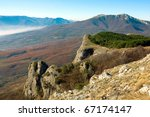 Landscape with crimean mountains - stock photo