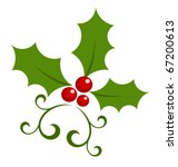 Christmas holly berry symbol. Vector icon - stock vector