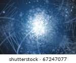 Blue abstract snowflakes background with stars, lines and snowflakes - stock photo