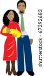 Raster version Illustration of Family number 6. A family of 3 isolated. - stock photo