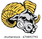 Mascot Ram head, proud and tough, which gives tribute to traditional school mascots but with a new look and attitude. Suitable for all sports. - stock vector