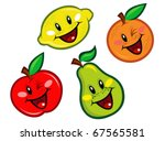 Happy Fruits Characters - stock vector