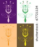 Raster version Illustration of seamless background. Abstract Flower Set 2 - stock photo