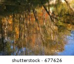 Reflected autumn colors in stream - stock photo