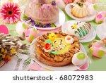 traditional polish easter cakes (mazurek,babka ) on festive table - stock photo