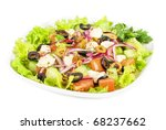 greece salad at plate isolated on a white - stock photo
