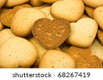 close up of  heart shaped brown cookies - stock photo