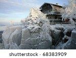 The mountain hut on the top of the Great Szczeliniec - Table Mountains - Poland - stock photo