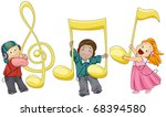 Illustration of Kids Playing with Musical Notes - stock vector