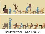 Editable vector silhouettes of two colorful classroom scenes - stock vector