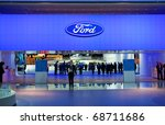 DETROIT - JANUARY 10: The Entrance to the Ford display at the 2011 North American International Auto Show Press Preview on January 10, 2011 in Detroit, Michigan. - stock photo