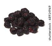 Blackberries isolated on a white studio background. - stock photo