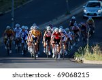 BLOEMFONTEIN, SOUTH AFRICA -NOVEMBER 7: Unidentified cyclists during the annual OFM Classic cycle race on November 7, 2010 in Bloemfontein, South Africa. - stock photo
