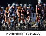 BLOEMFONTEIN, SOUTH AFRICA -NOVEMBER 7: A group of cyclists in action during the annual OFM Classic cycle race on November 7, 2010 in Bloemfontein, South Africa. - stock photo