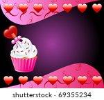 Raster version Valentine Background with Heart cupcake. - stock photo