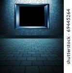 empty interior with frame - stock photo