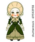 Cute victorian fashion doll isolated over white - stock vector