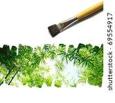 illustration of nature painted on white background. ( bamboo ) - stock photo