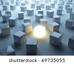Luminous cube. Symbol of individualism - stock photo