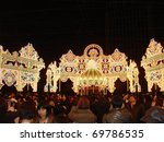 KOBE, JAPAN - DECEMBER 12: Kobe Luminarie is a light festival held annually to memorialize the victims of the Great Hanshin Earthquake in 1995 December 12, 2006 in Kobe, Japan. - stock photo