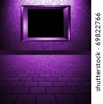empty interior with frame purple - stock photo