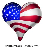 Illustration of a heart, with the american flag. - stock photo