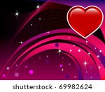 Vector Abstract Heart with reddish rainbow colored background. Valentine's Day Background. - stock vector