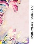Pastel flowered border on paper. - stock photo