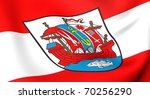 Flag of Bremerhaven city, Germany. Close up. - stock photo