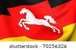Flag of Lower Saxony, Germany. Close up. - stock photo