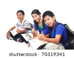 group of young asian students sitting on the floor. in white background. - stock photo