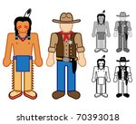 Indian & Cowboy Classic Character figures - stock vector