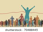 Colorful illustration of a man winning a race - stock photo