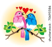 Vector Illustration of 2 love birds with hearts. - stock vector