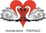 Raster version Illustration of love swans swimming with red heart. - stock photo