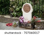 London, United Kingdom - June 5th, 2016: The memorial to WPC Yvonne Fletcher, shot outside the Libyan embassy in London 17th April 1984 - stock photo
