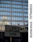 London, United Kingdom - June 5th, 2016: Sign for New Scotland Yard, City of Westminster, London. New Scotland yard moved to its current location in 1967. - stock photo