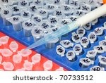 science medicial test centrifuge tube pipette tips - stock photo