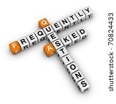 Frequently Asked Questions (3D crossword orange series) - stock photo