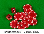 Snakes eyes with betting chips - stock photo