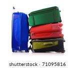 Luggage consisting of large suitcases isolated on white - stock photo