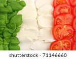 Italian food ingredients forming the italian flag - stock photo