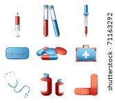 illustration of medical icon set with medicines and equipments on isolated background - stock vector