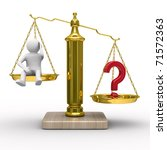 man and question on scales. Isolated 3D image - stock photo
