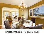 Green interior with dining room with living room - stock photo