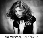 Portrait of the young beautiful woman with curly hairt. Vintage portrait - stock photo