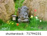 Indian ganesh statue in a yoga center - stock photo